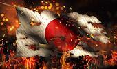 Japan Burning Fire Flag War Conflict Night 3D