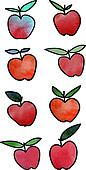 vector pattern with apples and pears