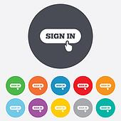 Sign in with hand pointer icon. Login symbol