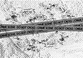 Crime scene danger tapes illustration on wall texture background