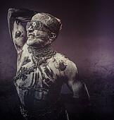 Chains, concept bdsm, slave and master, naked man