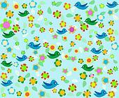 cartoon birds on blue floral decor