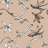 Flower vanilla sketch seamless pattern