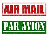 Air mail and par avion stamps