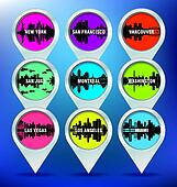 Map pins with american cities