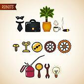 Steampunk technology icons set