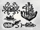 Set collection of seafood menu coal
