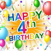 Fourth Birthday Represents Celebration Celebrate And Congratulations