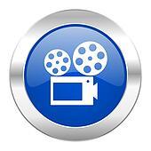 movie blue circle chrome web icon isolated