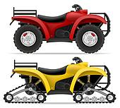 atv motorcycle on four wheels and trucks off roads illustration