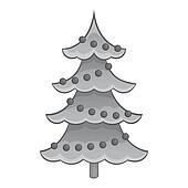 Christmas tree with toys icon, monochrome style