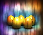 Easter background with five golden eggs