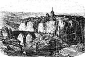 Cuenca in Spain, vintage engraving