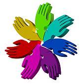 Hands  3D colors logo