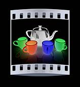 colorfall cups and teapot. The film strip