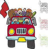 Road Trip Pickup Truck Family