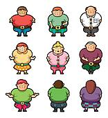 Cartoon Fat people icons