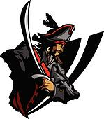 Pirate Mascot with Sword and Hat Gr