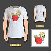 Girl holding apple printed on t-shirt. Vector design.
