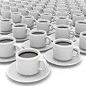 3d White coffee cups