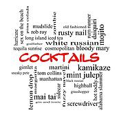 Cocktails Word Cloud Concept in red caps