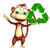 cute Monkey cartoon character with recycle