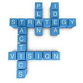Strategic vision 3D crossword on white background