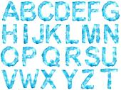 Ice alphabet on white background