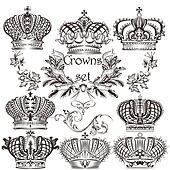 Collection of vector crowns in vintage style