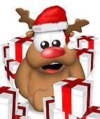 Reindeer Christmas Background Design Graphic Illsutration