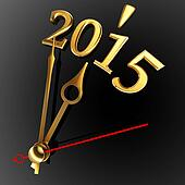 new year 2015 and golden clock