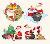 cute cartoon Christmas Holiday,santa,
