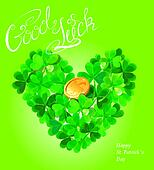 Holiday card with calligraphic words Good Luck and Shamrock hear