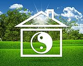 House icon with symbol of yin-yang