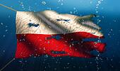 Poland Under Water Sea Flag National Torn Bubble 3D