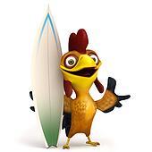 Chicken with surf board
