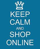 Keep Calm and Shop Online Blue Sign