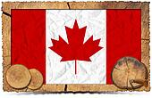 Canadian Flag on Wooden Photo Frame
