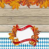 Oktoberfest Flyer Wood Foliage Emblem Beer Pretzel