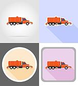 truck cleaning and watering the road flat icons illustration