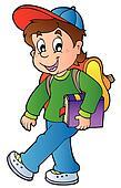 Cartoon boy walking to school