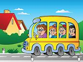 Road with school bus 1