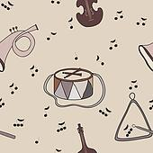 Background with music notes and instruments