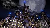 Futuristic city in moonlight