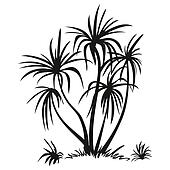 Palm Trees and Grass Silhouettes