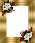 Christmas border gold floral