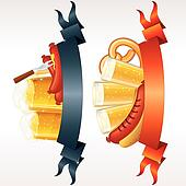 Festive Oktoberfest Banners, Headers with Beer, Wurst and Pretzel. Ready for your own text or design