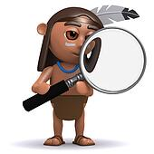 3d Native American Indian with magnifying glass