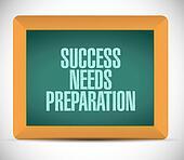 success needs preparation board sign concept