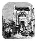 View of the mosque el-Moyed in Cairo, vintage engraving.